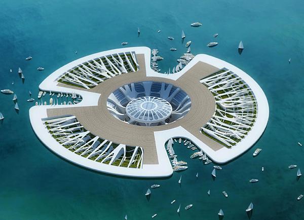 Lilypad - главна палуба с три дока, културен център и градини за фитопречистване