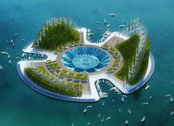 Lilypad - Трите планини са екологични ниши, аквакултурни полета и биологични коридори.